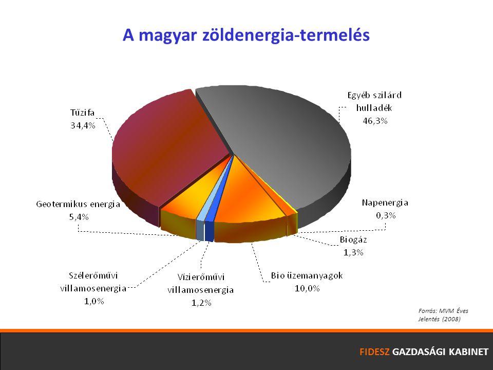 FIDESZ GAZDASÁGI KABINET A magyar zöldenergia-termelés Forrás: MVM Éves Jelentés (2008)