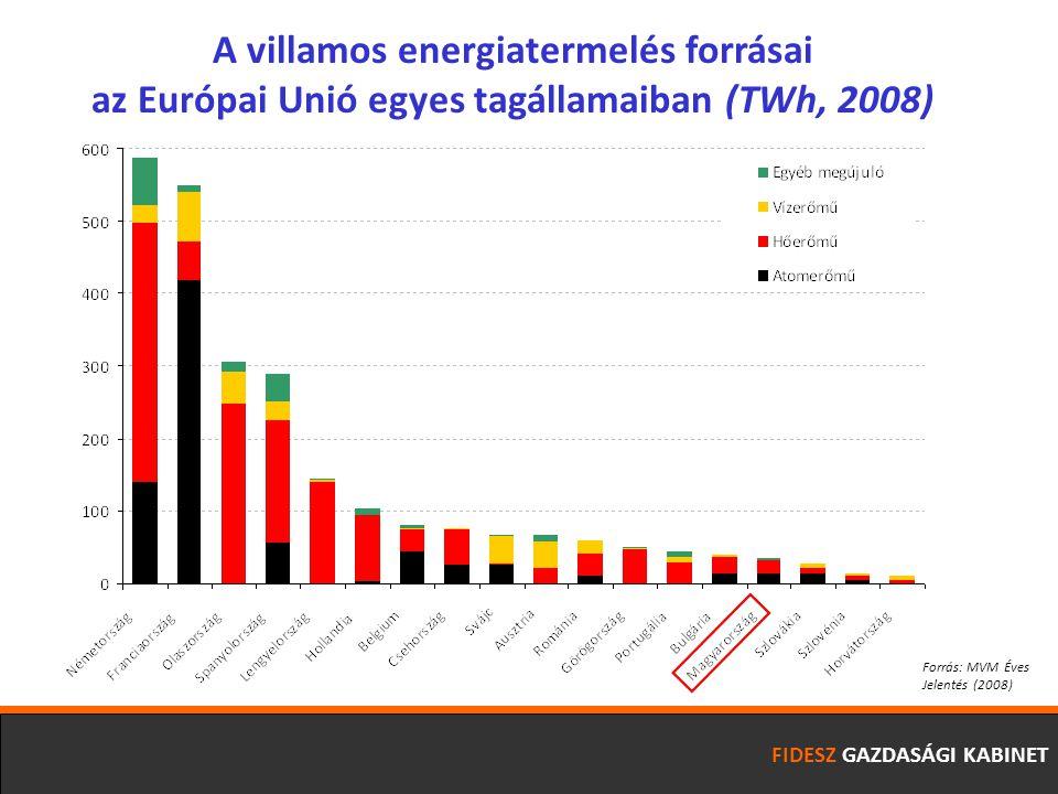 FIDESZ GAZDASÁGI KABINET A villamos energiatermelés forrásai az Európai Unió egyes tagállamaiban (TWh, 2008) Forrás: MVM Éves Jelentés (2008)