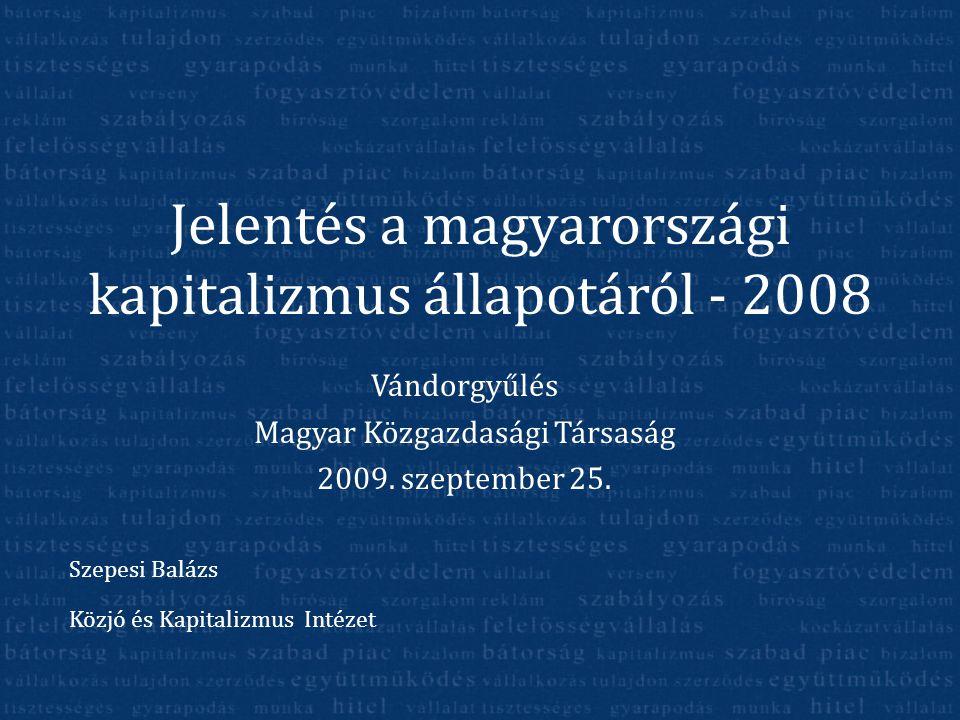 Jelentés a magyarországi kapitalizmus állapotáról - 2008 Vándorgyűlés Magyar Közgazdasági Társaság 2009. szeptember 25. Szepesi Balázs Közjó és Kapita