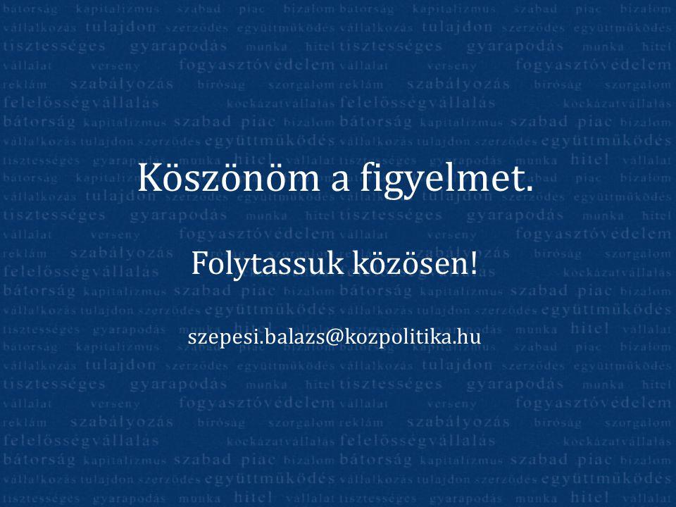 Köszönöm a figyelmet. Folytassuk közösen! szepesi.balazs@kozpolitika.hu
