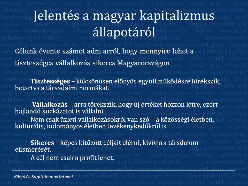 Közjó és Kapitalizmus Intézet Jelentés a magyar kapitalizmus állapotáról Célunk évente számot adni arról, hogy mennyire lehet a tisztességes vállalkoz