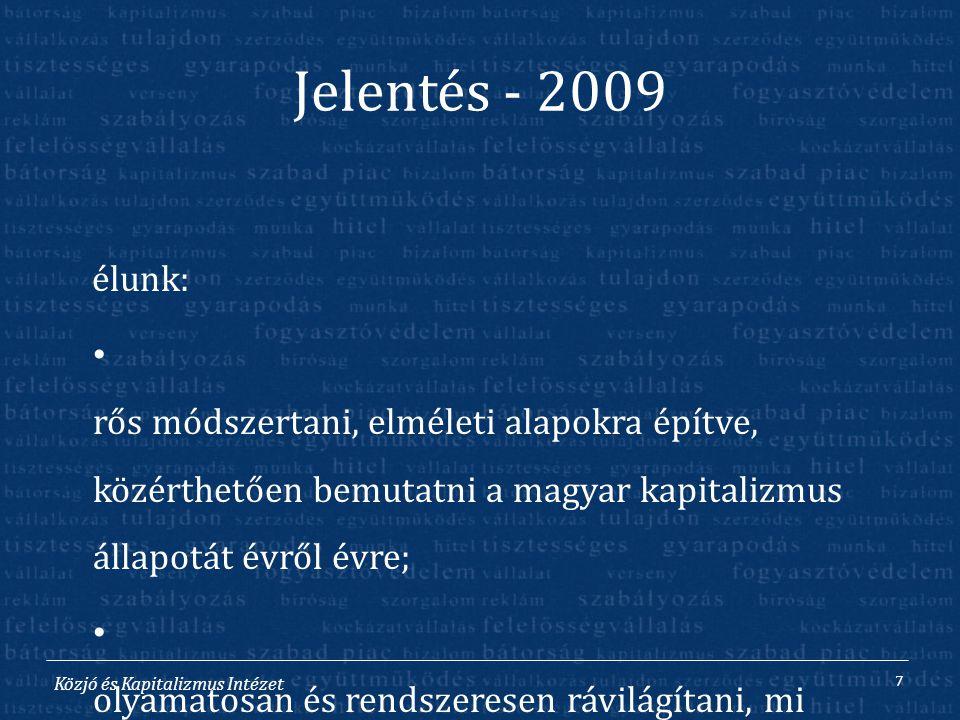 Közjó és Kapitalizmus Intézet Jelentés - 2009 C élunk: E rős módszertani, elméleti alapokra építve, közérthetően bemutatni a magyar kapitalizmus állap