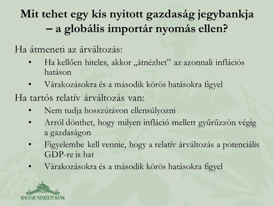 Mit tehet egy kis nyitott gazdaság jegybankja – a globális importár nyomás ellen.