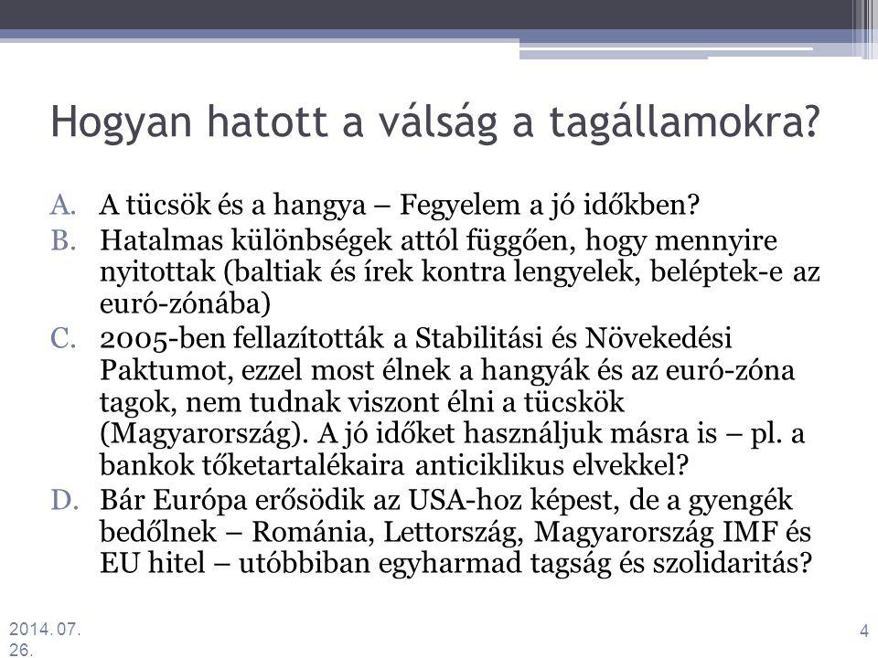 Hogyan hatott a válság a tagállamokra. A.A tücsök és a hangya – Fegyelem a jó időkben.