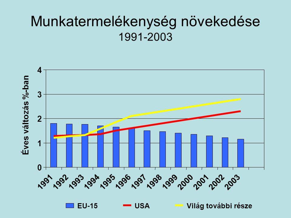 Munkatermelékenység növekedése 1991-2003 0 1 2 3 4 1991199219931994199519961997199819992000200120022003 Éves változás %-ban EU-15USAVilág további része