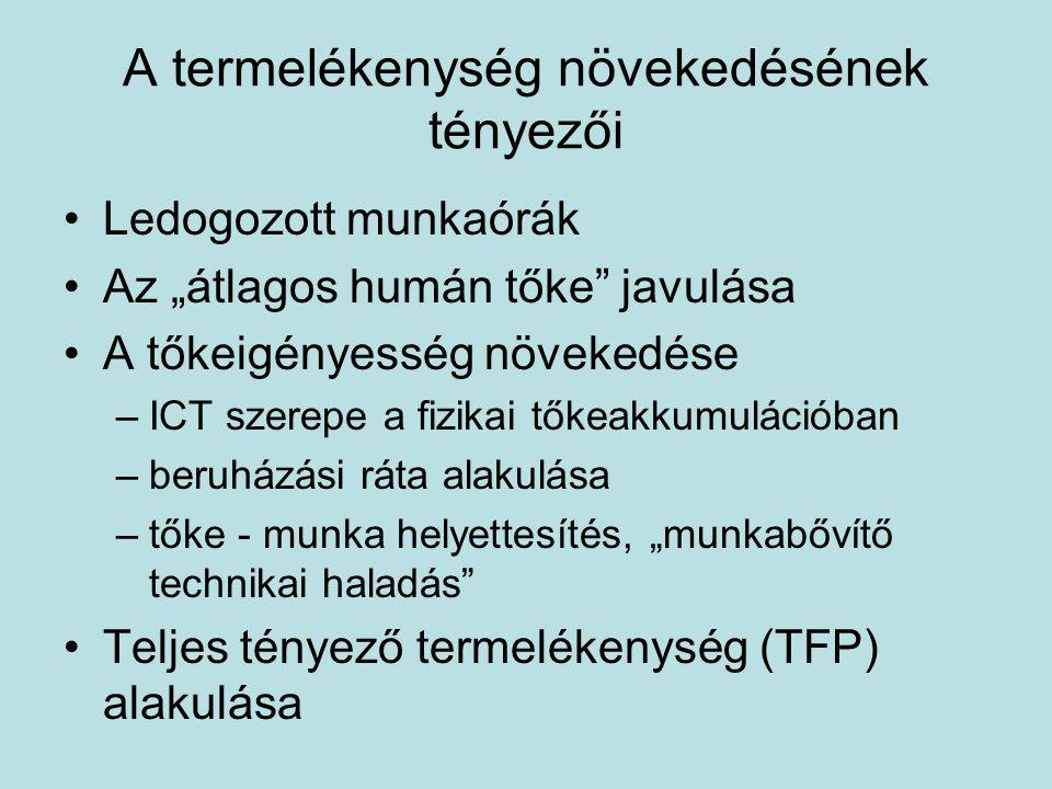 """A termelékenység növekedésének tényezői Ledogozott munkaórák Az """"átlagos humán tőke javulása A tőkeigényesség növekedése –ICT szerepe a fizikai tőkeakkumulációban –beruházási ráta alakulása –tőke - munka helyettesítés, """"munkabővítő technikai haladás Teljes tényező termelékenység (TFP) alakulása"""