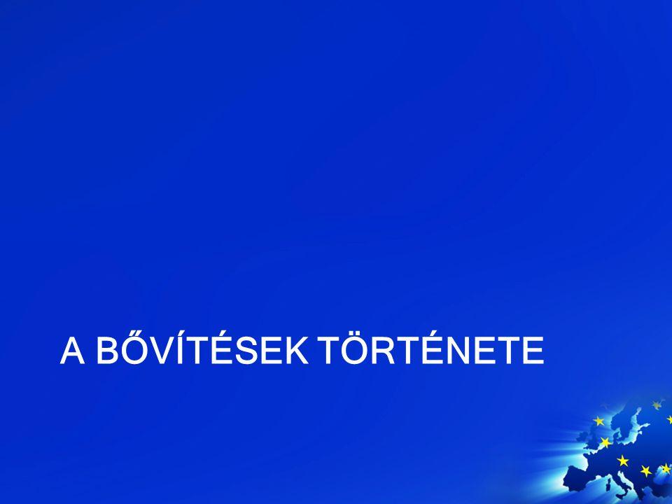 """A bővítések története A hatok, 1950 –hidegháborús logika Nyugati blokk, harmadik út """"Special relationship Az """"EU -t Németország ügye kényszeríti ki Az északi bővítés, 1973 –Az integráció gazdasági sikere De Gaulle ellenállása Relatíve szegény UK és IR DK belép, NO kimarad"""