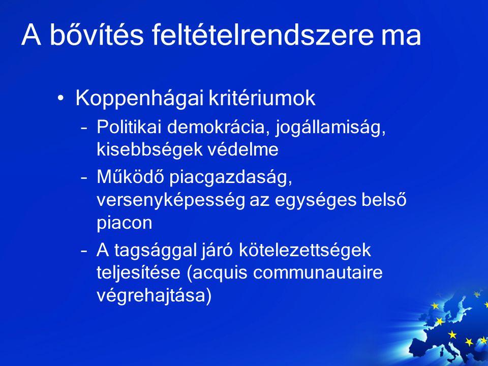 A bővítés jövője A tagállamok egyetértése (ügyek…) –TR: méret, geopolitika, vallás, politikai unió, kohézió, CY –MK: BG és AL konfliktus, név, –AL: politikai megosztottság és demokráciadeficit –SR: háborús örökség, Koszovó ügye, megosztottság –Általános félelem a korrupciótól, szervezett bűnözéstől –Gazdasági válság következményei –EU a határaihoz közeledik