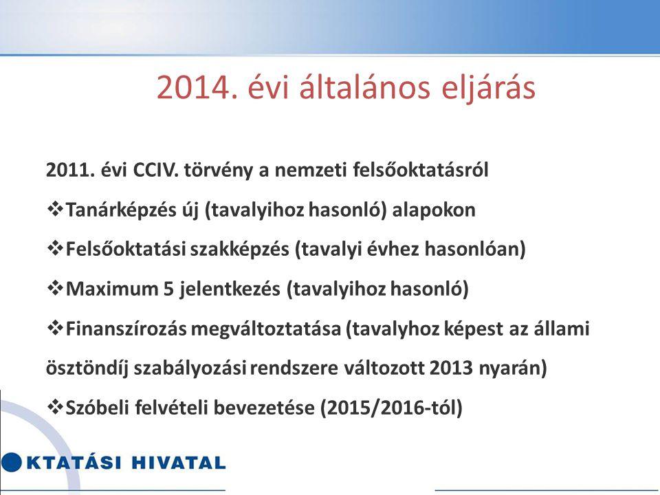 A 2014.évi általános eljárás Részletszabályok a 423/2012.