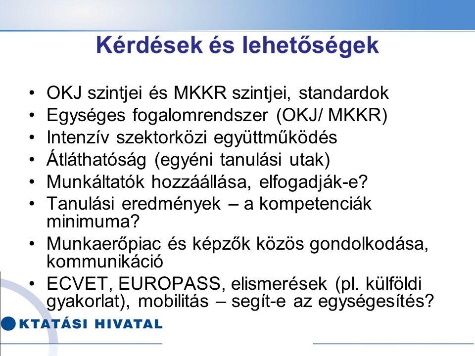 Kérdések és lehetőségek OKJ szintjei és MKKR szintjei, standardok Egységes fogalomrendszer (OKJ/ MKKR) Intenzív szektorközi együttműködés Átláthatóság