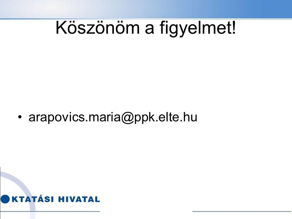 Köszönöm a figyelmet! arapovics.maria@ppk.elte.hu