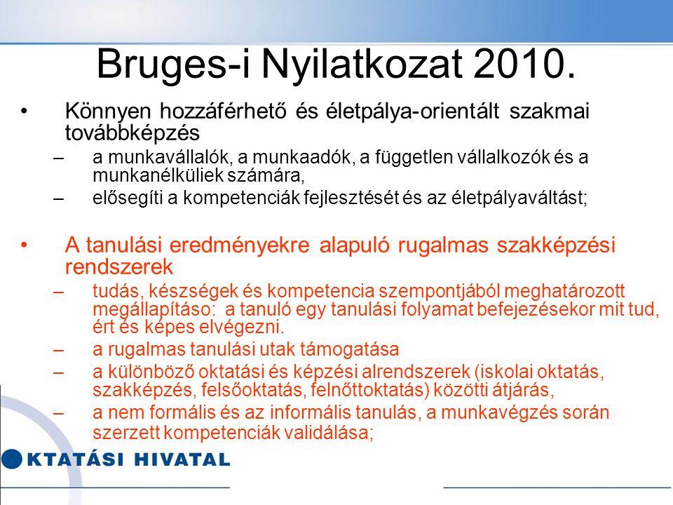 Bruges-i Nyilatkozat 2010. Könnyen hozzáférhető és életpálya-orientált szakmai továbbképzés –a munkavállalók, a munkaadók, a független vállalkozók és