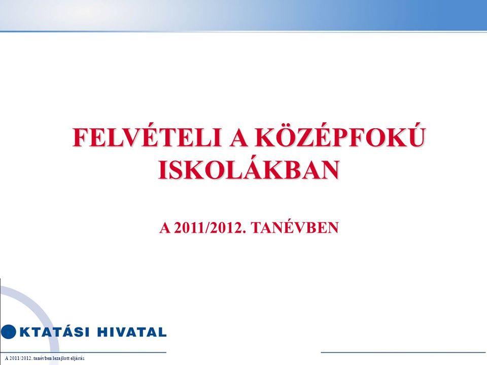 22 Férőhelyek a 2012/2013-as tanévre A 2011/2012. tanévben lezajlott eljárás
