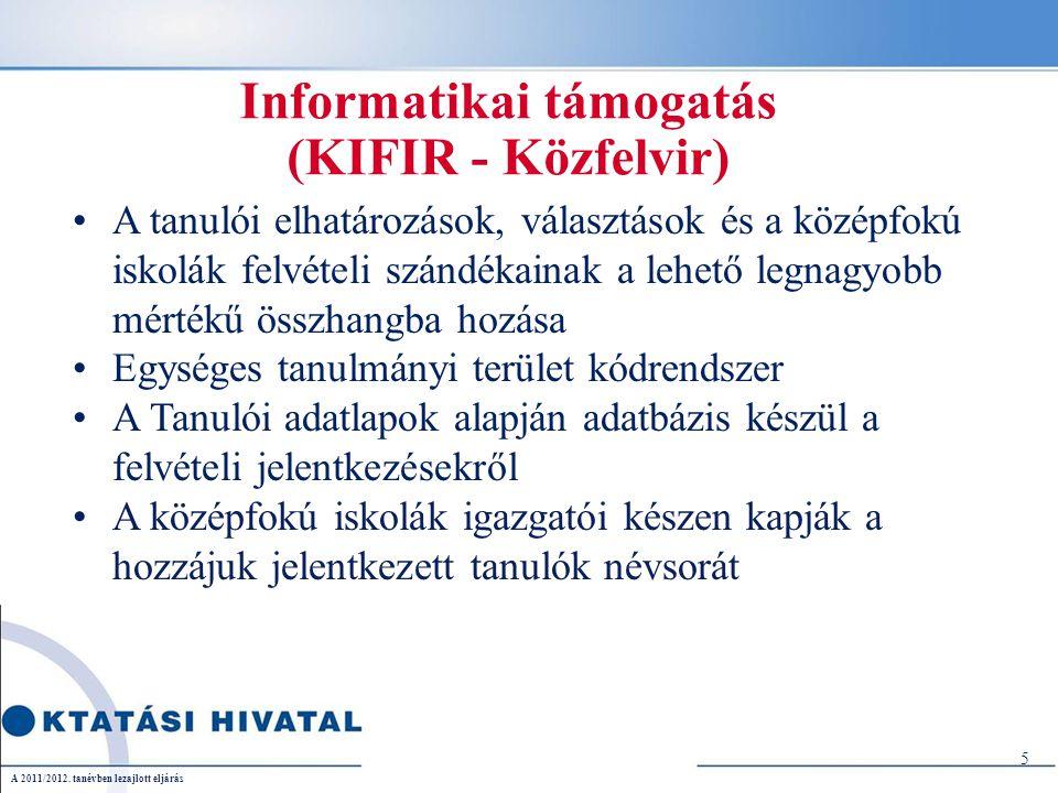 Informatikai támogatás (KIFIR - Közfelvir) A tanulói elhatározások, választások és a középfokú iskolák felvételi szándékainak a lehető legnagyobb mértékű összhangba hozása Egységes tanulmányi terület kódrendszer A Tanulói adatlapok alapján adatbázis készül a felvételi jelentkezésekről A középfokú iskolák igazgatói készen kapják a hozzájuk jelentkezett tanulók névsorát 5 A 2011/2012.