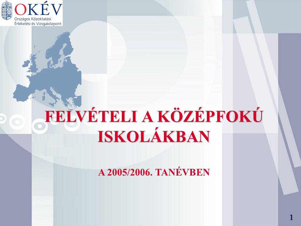 1 FELVÉTELI A KÖZÉPFOKÚ ISKOLÁKBAN A 2005/2006. TANÉVBEN 1