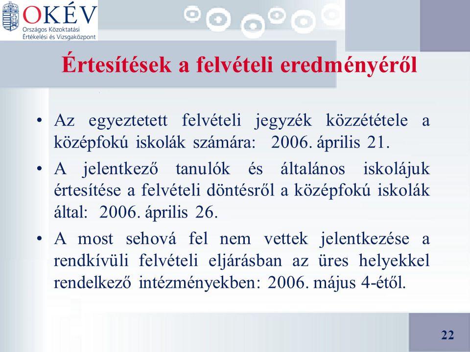 22 Értesítések a felvételi eredményéről Az egyeztetett felvételi jegyzék közzététele a középfokú iskolák számára: 2006.