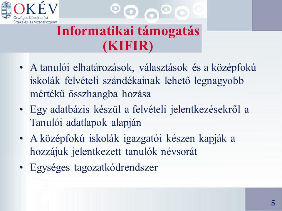 5 Informatikai támogatás (KIFIR) A tanulói elhatározások, választások és a középfokú iskolák felvételi szándékainak lehető legnagyobb mértékű összhangba hozása Egy adatbázis készül a felvételi jelentkezésekről a Tanulói adatlapok alapján A középfokú iskolák igazgatói készen kapják a hozzájuk jelentkezett tanulók névsorát Egységes tagozatkódrendszer 5
