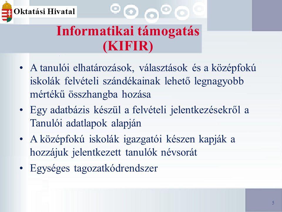5 Informatikai támogatás (KIFIR) A tanulói elhatározások, választások és a középfokú iskolák felvételi szándékainak lehető legnagyobb mértékű összhangba hozása Egy adatbázis készül a felvételi jelentkezésekről a Tanulói adatlapok alapján A középfokú iskolák igazgatói készen kapják a hozzájuk jelentkezett tanulók névsorát Egységes tagozatkódrendszer 5 Oktatási Hivatal