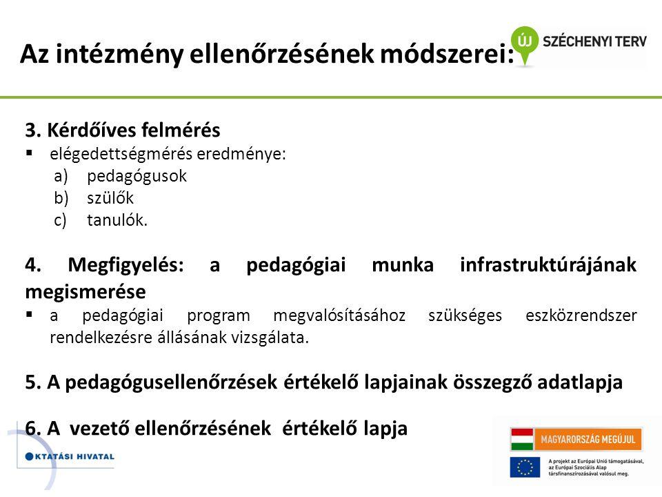 Az intézmény ellenőrzésének módszerei: 3. Kérdőíves felmérés  elégedettségmérés eredménye: a)pedagógusok b)szülők c)tanulók. 4. Megfigyelés: a pedagó