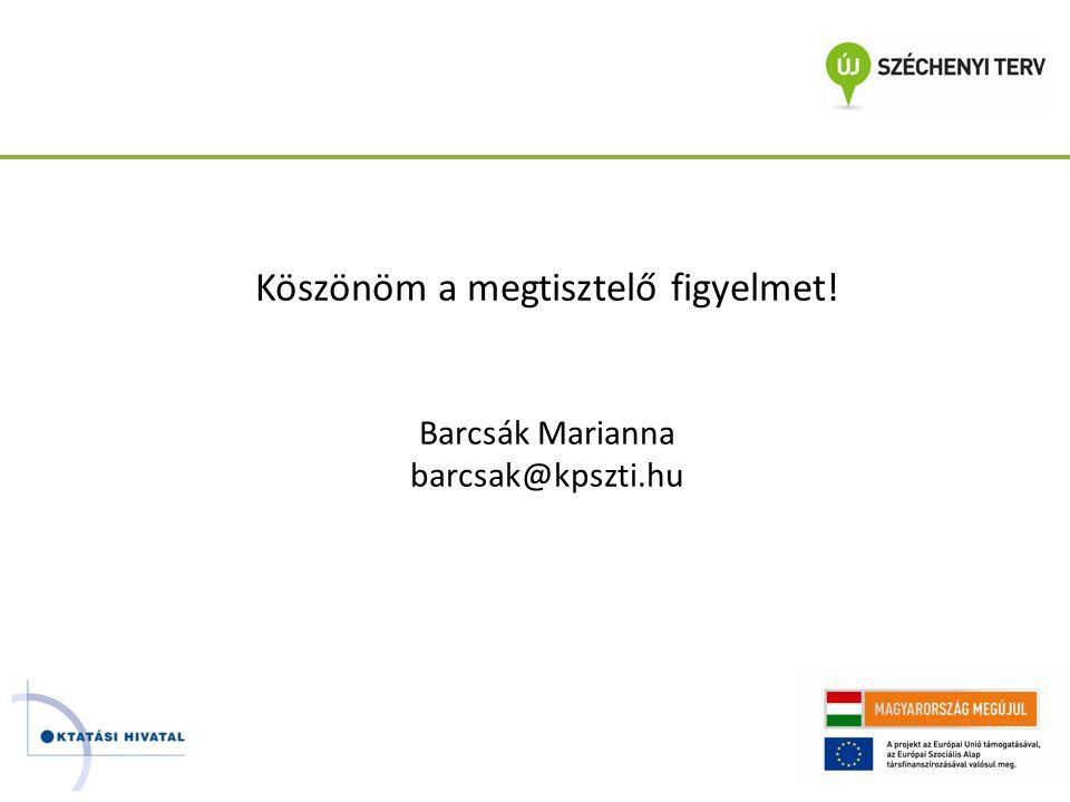 Köszönöm a megtisztelő figyelmet! Barcsák Marianna barcsak@kpszti.hu