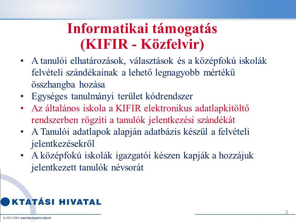 Informatikai támogatás (KIFIR - Közfelvir) A tanulói elhatározások, választások és a középfokú iskolák felvételi szándékainak a lehető legnagyobb mértékű összhangba hozása Egységes tanulmányi terület kódrendszer Az általános iskola a KIFIR elektronikus adatlapkitöltő rendszerben rögzíti a tanulók jelentkezési szándékát A Tanulói adatlapok alapján adatbázis készül a felvételi jelentkezésekről A középfokú iskolák igazgatói készen kapják a hozzájuk jelentkezett tanulók névsorát 5 A 2012/2013.