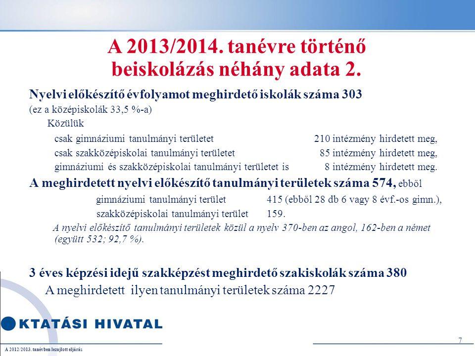 A 9.évfolyamra történő beiskolázás néhány számadata a 2012/2013.