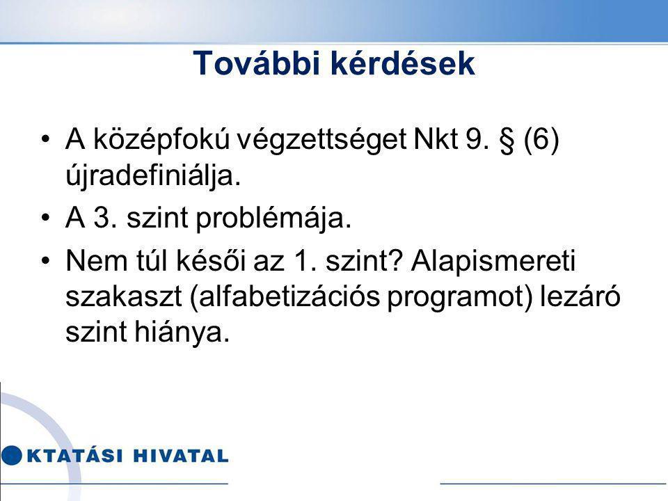 További kérdések A középfokú végzettséget Nkt 9. § (6) újradefiniálja. A 3. szint problémája. Nem túl késői az 1. szint? Alapismereti szakaszt (alfabe