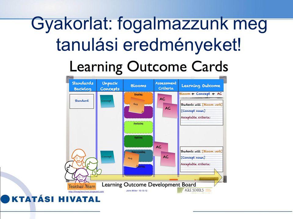 Gyakorlat: fogalmazzunk meg tanulási eredményeket!