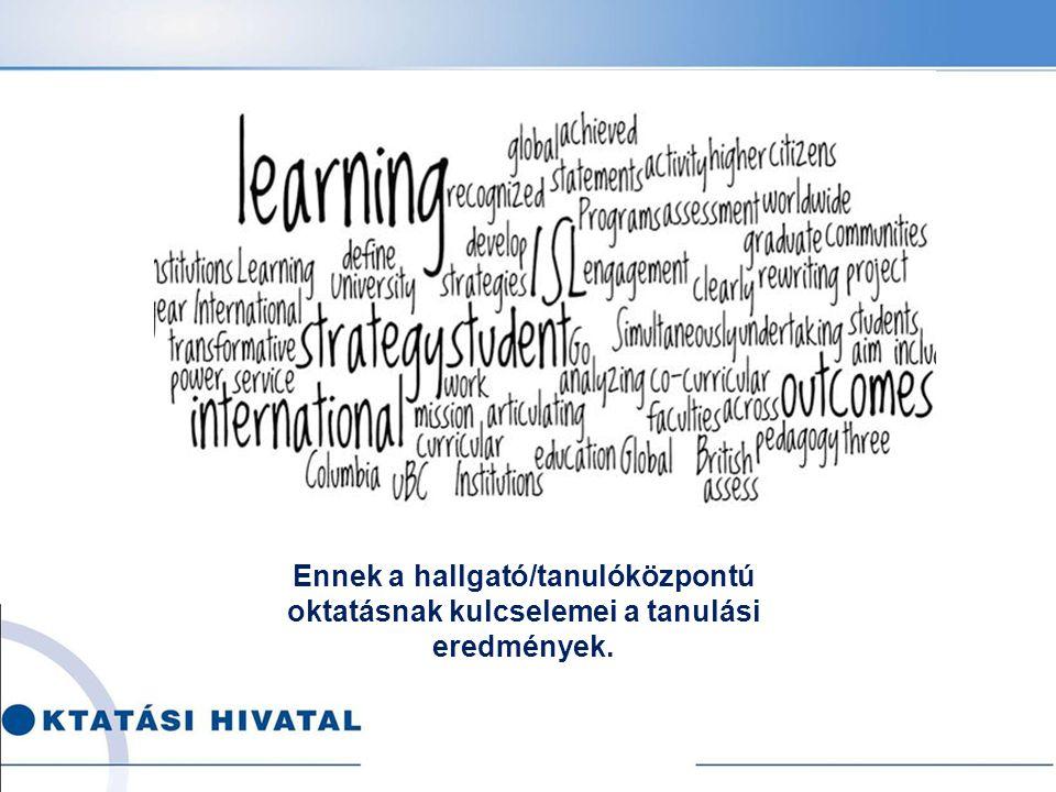 Tanulási eredmények Állítások arra vonatkozóan, amit egy tanuló/hallgató ismer, megért és képes elvégezni a tanulási folyamat (egy adott tanulási szakasz, képzési program) befejezésekor.