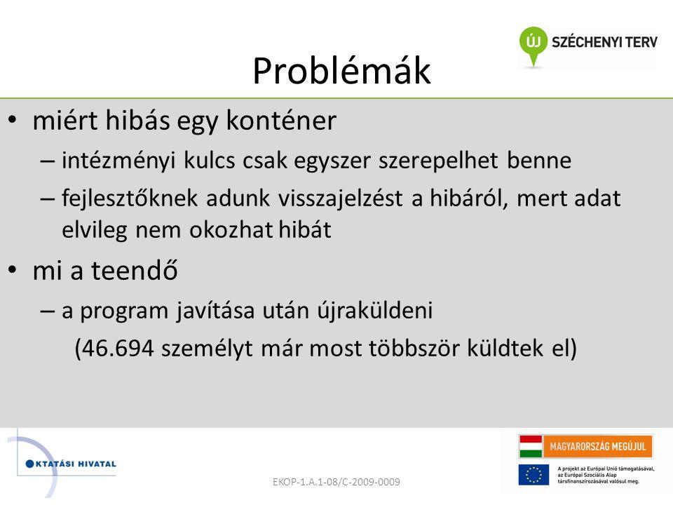 Problémák miért hibás egy konténer – intézményi kulcs csak egyszer szerepelhet benne – fejlesztőknek adunk visszajelzést a hibáról, mert adat elvileg nem okozhat hibát mi a teendő – a program javítása után újraküldeni (46.694 személyt már most többször küldtek el) EKOP-1.A.1-08/C-2009-0009