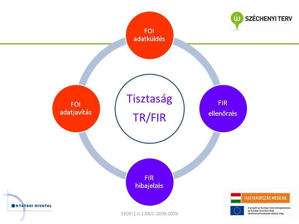 Tisztaság TR/FIR FOI adatküldés FIR ellenőrzés FIR hibajelzés FOI adatjavítás EKOP-1.A.1-08/C-2009-0009