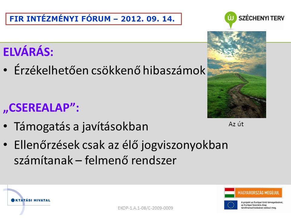 """ELVÁRÁS: Érzékelhetően csökkenő hibaszámok """"CSEREALAP : Támogatás a javításokban Ellenőrzések csak az élő jogviszonyokban számítanak – felmenő rendszer EKOP-1.A.1-08/C-2009-0009 FIR INTÉZMÉNYI FÓRUM – 2012."""