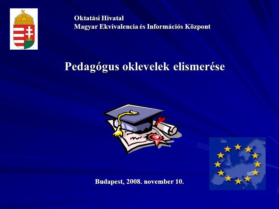 Pedagógus oklevelek elismerése Oktatási Hivatal Magyar Ekvivalencia és Információs Központ Budapest, 2008.
