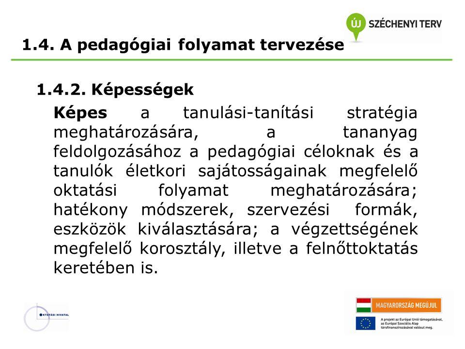 1.4.2. Képességek Képes a tanulási-tanítási stratégia meghatározására, a tananyag feldolgozásához a pedagógiai céloknak és a tanulók életkori sajátoss