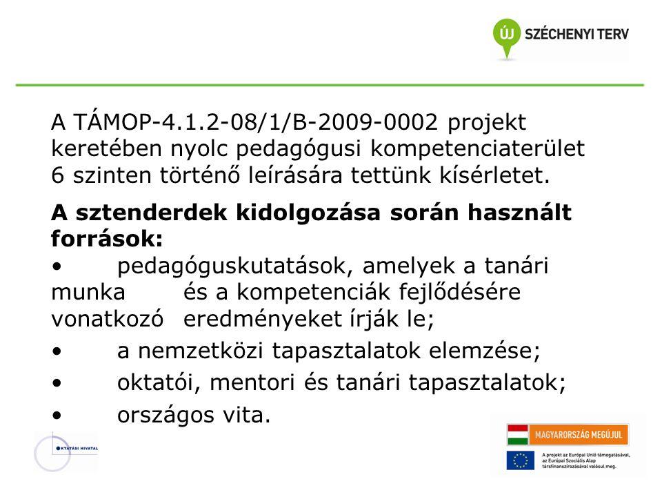 A TÁMOP-4.1.2-08/1/B-2009-0002 projekt keretében nyolc pedagógusi kompetenciaterület 6 szinten történő leírására tettünk kísérletet. A sztenderdek kid