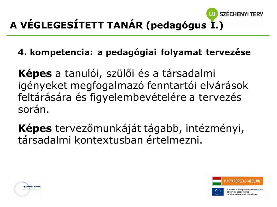 4. kompetencia: a pedagógiai folyamat tervezése Képes a tanulói, szülői és a társadalmi igényeket megfogalmazó fenntartói elvárások feltárására és fig