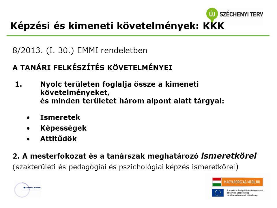 Képzési és kimeneti követelmények: KKK 8/2013. (I. 30.) EMMI rendeletben A TANÁRI FELKÉSZÍTÉS KÖVETELMÉNYEI 1. Nyolc területen foglalja össze a kimene