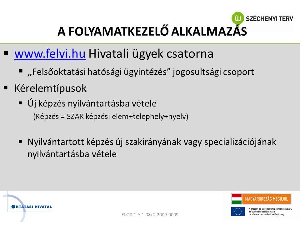"""A FOLYAMATKEZELŐ ALKALMAZÁS  www.felvi.hu Hivatali ügyek csatorna www.felvi.hu  """" Felsőoktatási hatósági ügyintézés jogosultsági csoport  Kérelemtípusok  Új képzés nyilvántartásba vétele (Képzés = SZAK képzési elem+telephely+nyelv)  Nyilvántartott képzés új szakirányának vagy specializációjának nyilvántartásba vétele EKOP-1.A.1-08/C-2009-0009"""