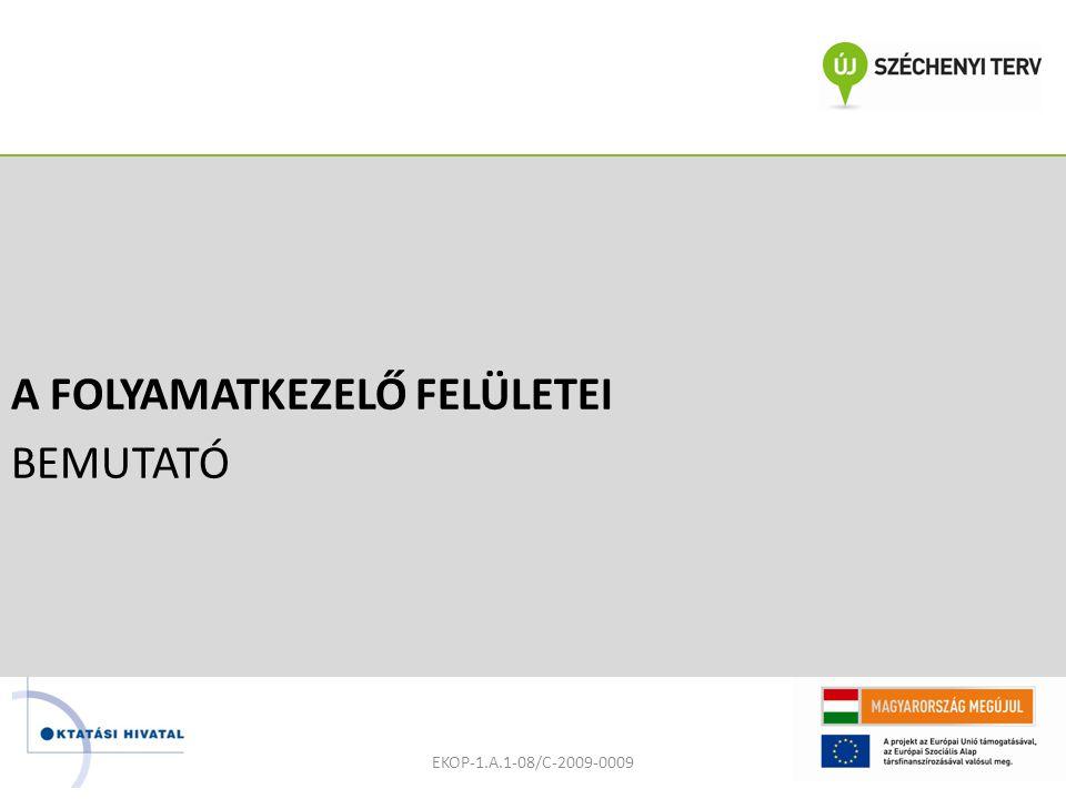 A FOLYAMATKEZELŐ FELÜLETEI BEMUTATÓ EKOP-1.A.1-08/C-2009-0009