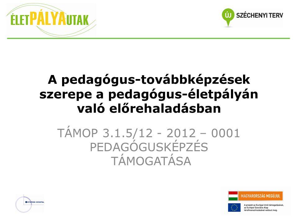 A pedagógus-továbbképzések szerepe a pedagógus-életpályán való előrehaladásban TÁMOP 3.1.5/12 - 2012 – 0001 PEDAGÓGUSKÉPZÉS TÁMOGATÁSA