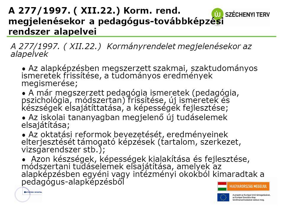 A 277/1997. ( XII.22.) Korm. rend. megjelenésekor a pedagógus-továbbképzési rendszer alapelvei A 277/1997. ( XII.22.) Kormányrendelet megjelenésekor a