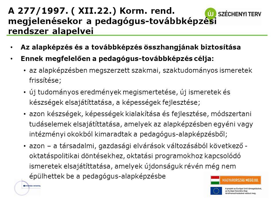 A pedagógusok továbbképzési kötelezettsége Eddigi gyakorlat: Igények: Pedagógusok egyéni igényei Az intézmény fejlesztési terve Helyi és országos szintű oktatásirányítás Az igények összehangolása Széles körű pedagógus- továbbképzési kínálat Változás: Az intézmény továbbképzési programja: fenntartói döntés Továbbképzési irányok kijelölése, tervezhetőség