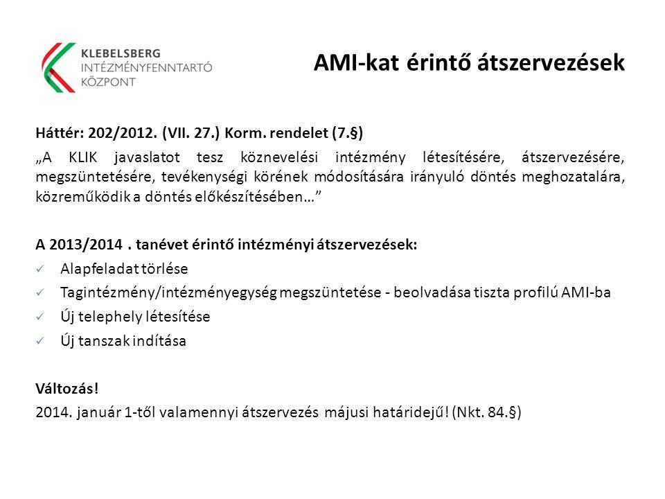 """AMI-kat érintő átszervezések Háttér: 202/2012. (VII. 27.) Korm. rendelet (7.§) """"A KLIK javaslatot tesz köznevelési intézmény létesítésére, átszervezés"""