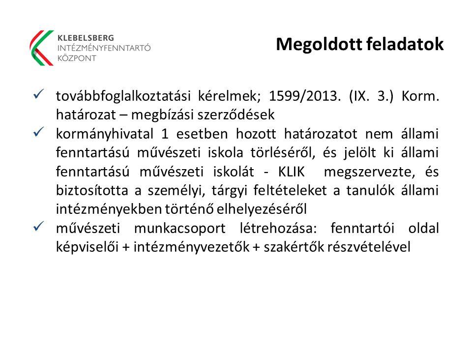 Megoldott feladatok továbbfoglalkoztatási kérelmek; 1599/2013. (IX. 3.) Korm. határozat – megbízási szerződések kormányhivatal 1 esetben hozott határo