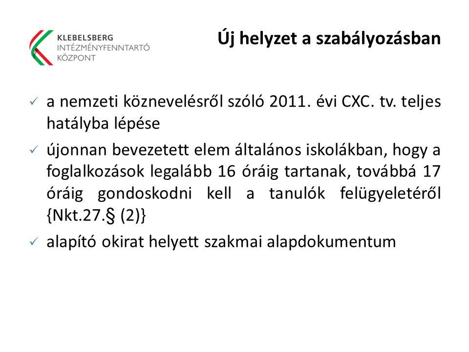 Új helyzet a szabályozásban a nemzeti köznevelésről szóló 2011. évi CXC. tv. teljes hatályba lépése újonnan bevezetett elem általános iskolákban, hogy