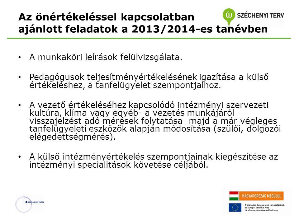 Az önértékeléssel kapcsolatban ajánlott feladatok a 2013/2014-es tanévben A munkaköri leírások felülvizsgálata.