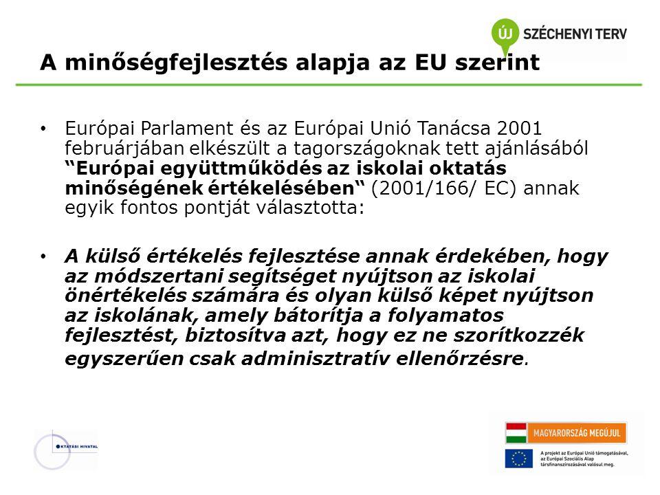 A minőségfejlesztés alapja az EU szerint Európai Parlament és az Európai Unió Tanácsa 2001 februárjában elkészült a tagországoknak tett ajánlásából Európai együttműködés az iskolai oktatás minőségének értékelésében (2001/166/ EC) annak egyik fontos pontját választotta: A külső értékelés fejlesztése annak érdekében, hogy az módszertani segítséget nyújtson az iskolai önértékelés számára és olyan külső képet nyújtson az iskolának, amely bátorítja a folyamatos fejlesztést, biztosítva azt, hogy ez ne szorítkozzék egyszerűen csak adminisztratív ellenőrzésre.
