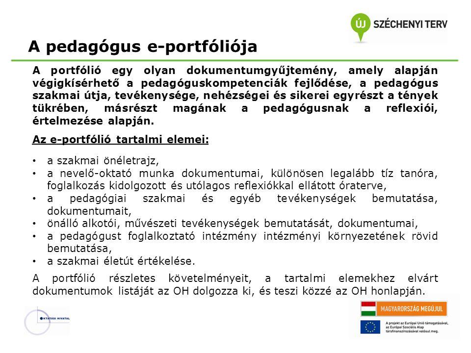 A pedagógus e-portfóliója A portfólió egy olyan dokumentumgyűjtemény, amely alapján végigkísérhető a pedagóguskompetenciák fejlődése, a pedagógus szak