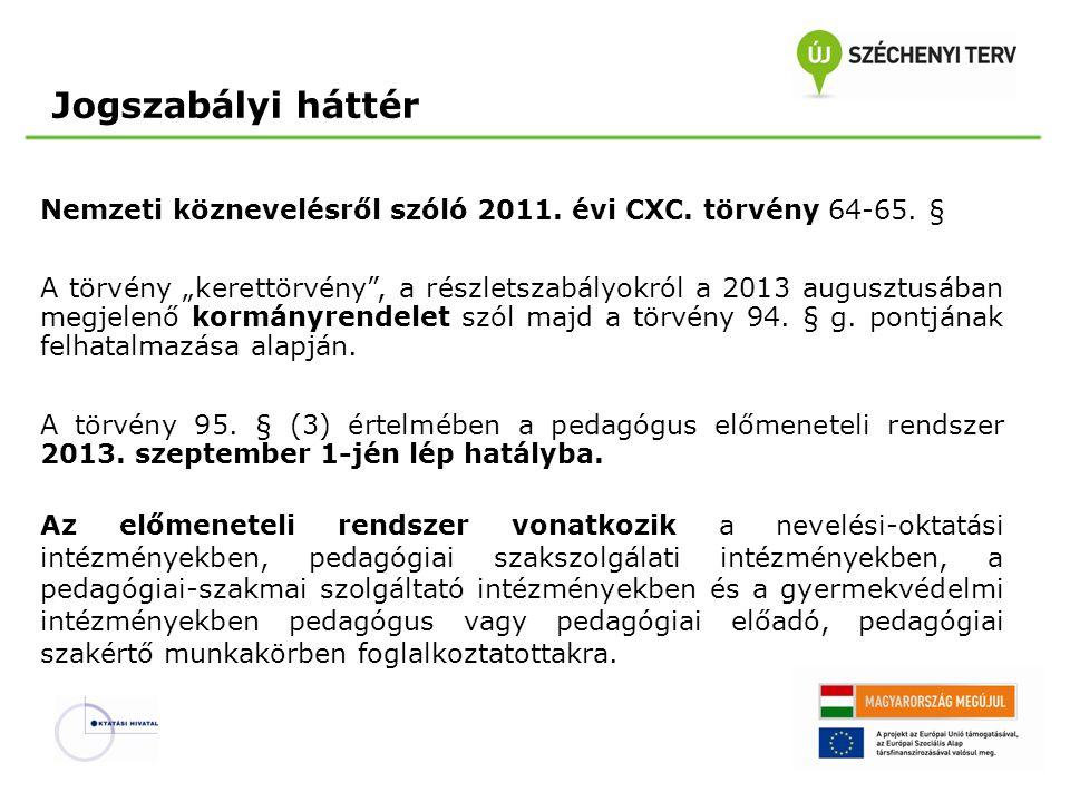"""Jogszabályi háttér Nemzeti köznevelésről szóló 2011. évi CXC. törvény 64-65. § A törvény """"kerettörvény"""", a részletszabályokról a 2013 augusztusában me"""