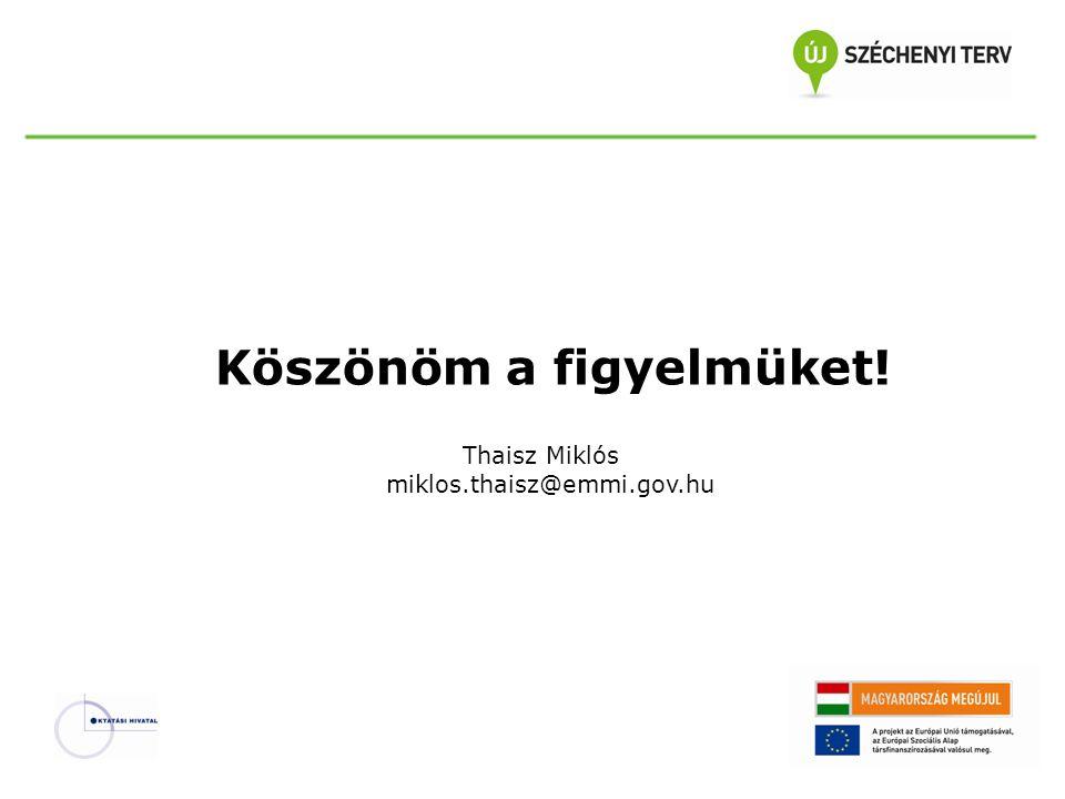 Köszönöm a figyelmüket! Thaisz Miklós miklos.thaisz@emmi.gov.hu